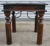 Rustic Style Small Stained Beech Coffee Table with Metal Decoration